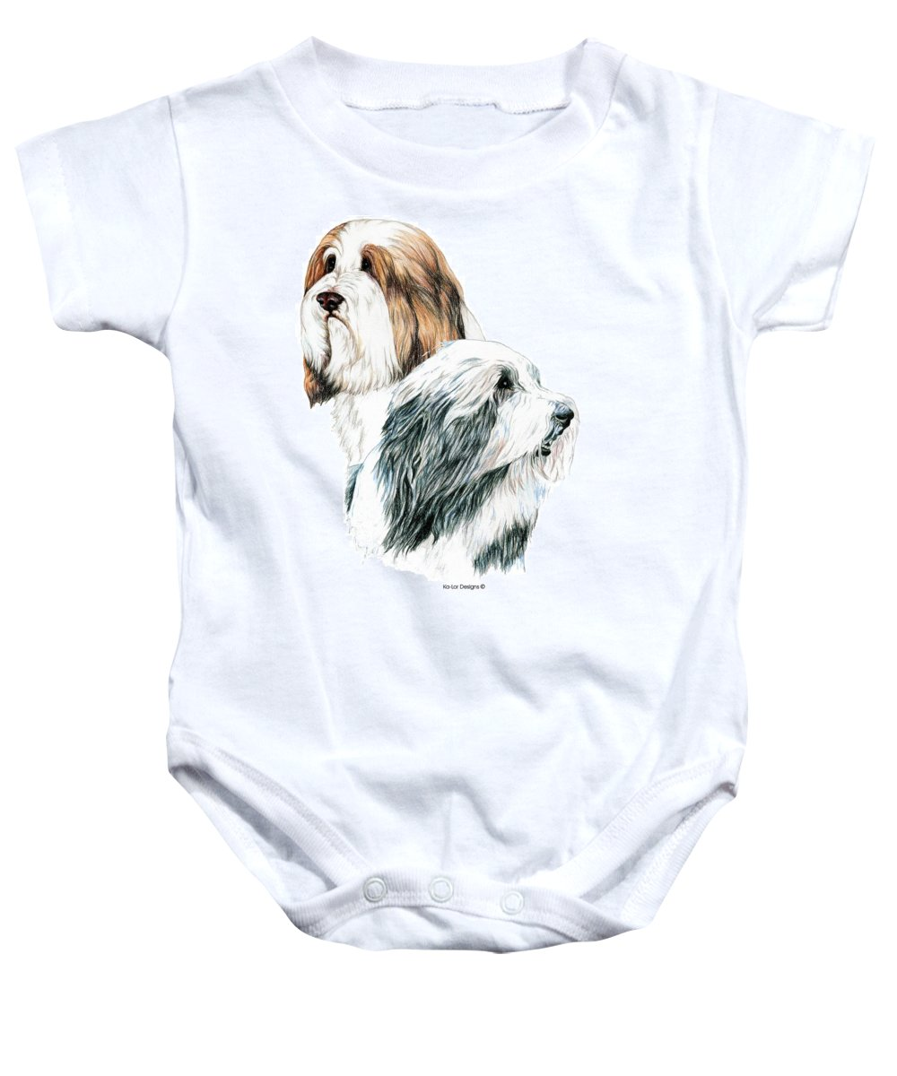 Bearded Collies Baby Onesie featuring the drawing Bearded Collies by Kathleen Sepulveda