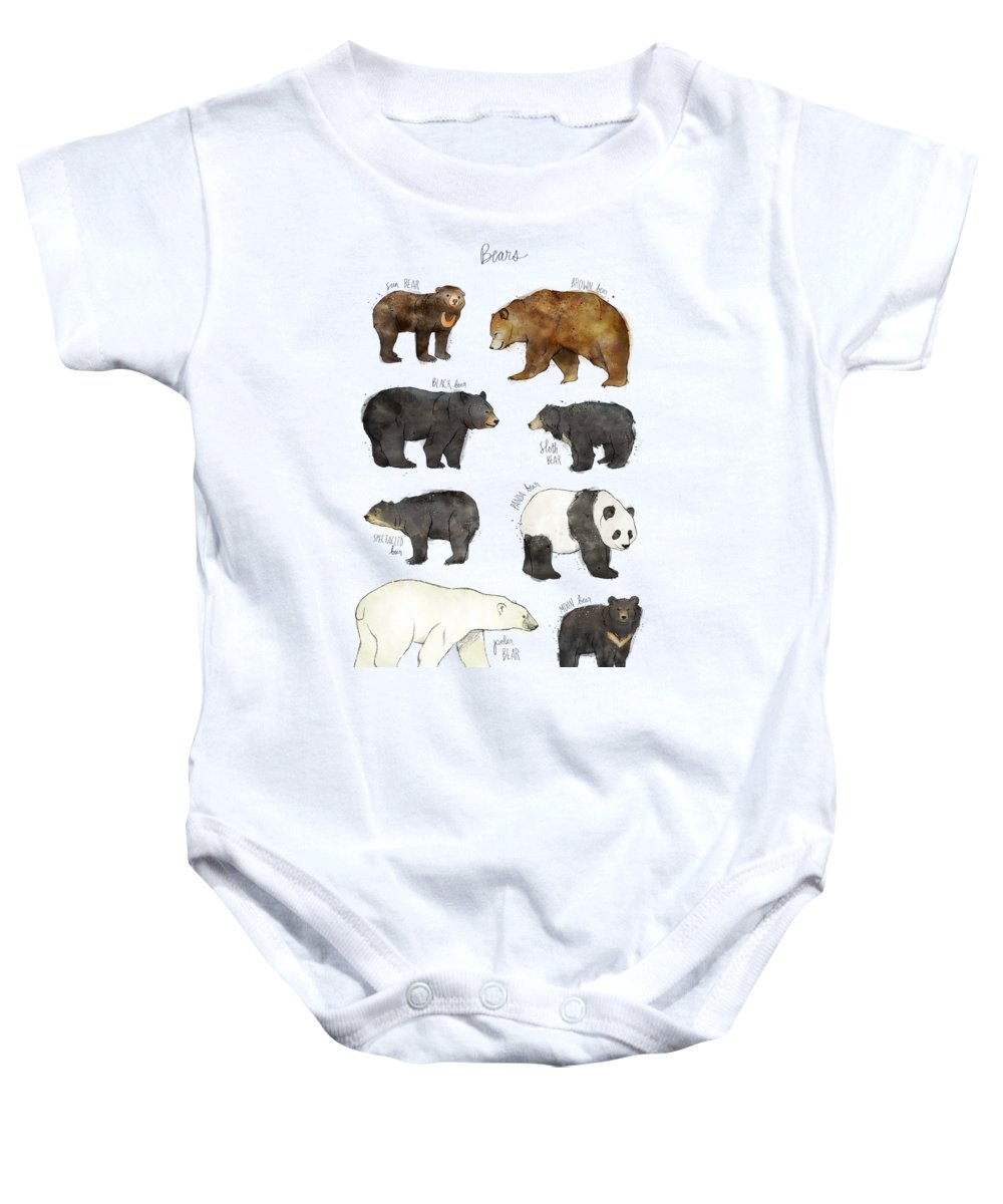 Bear Baby Onesie featuring the drawing Bears by Amy Hamilton
