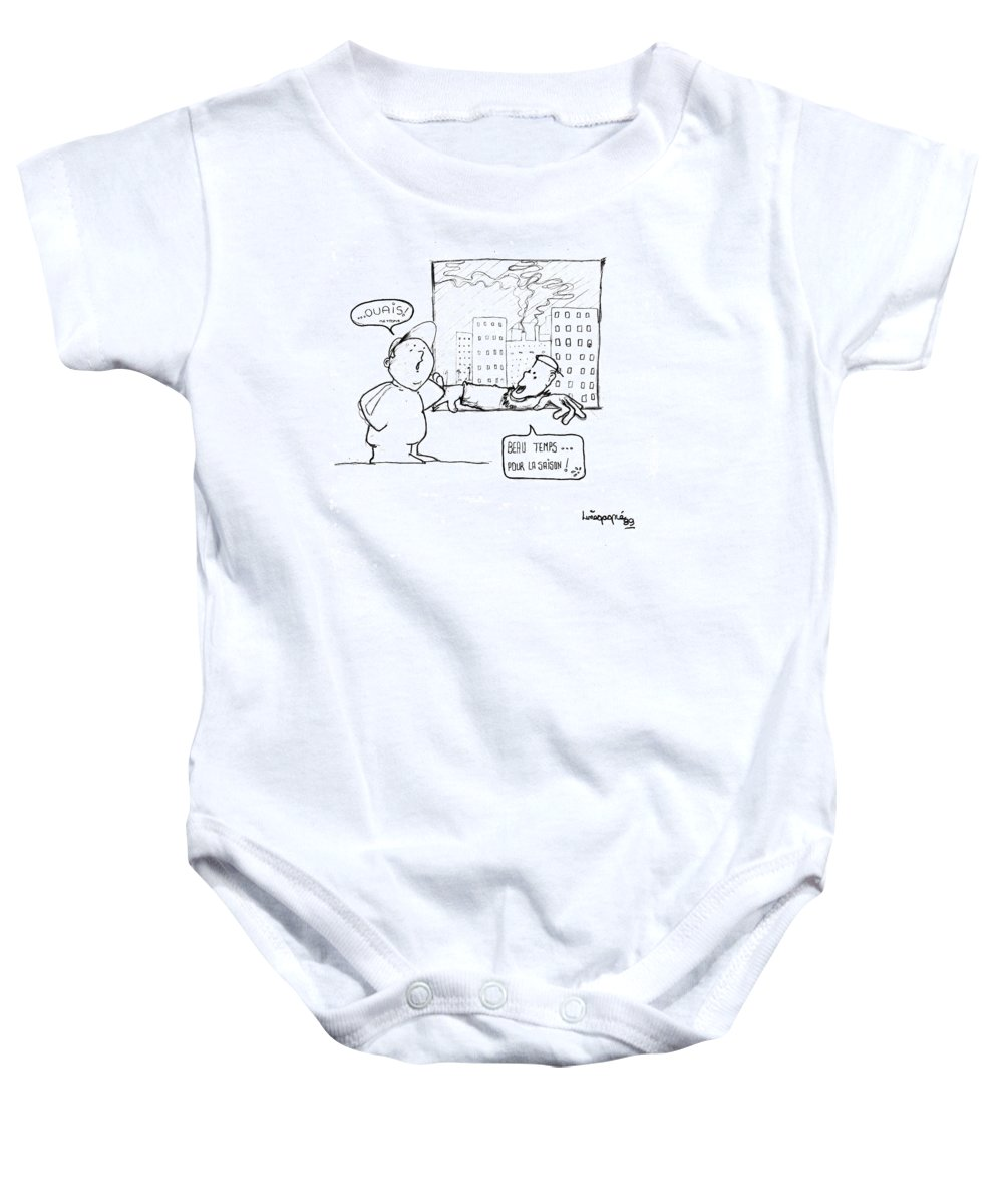 Humor Baby Onesie featuring the drawing Beau Temps Pour La Saison by Line Gagne
