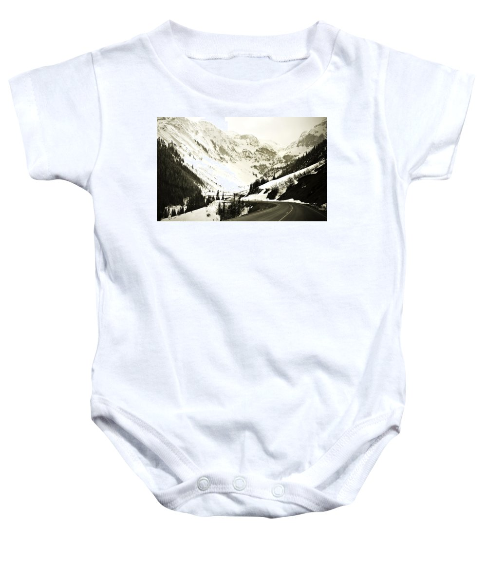 Mountains Baby Onesie featuring the photograph Beautiful Curving Drive Through The Mountains by Marilyn Hunt