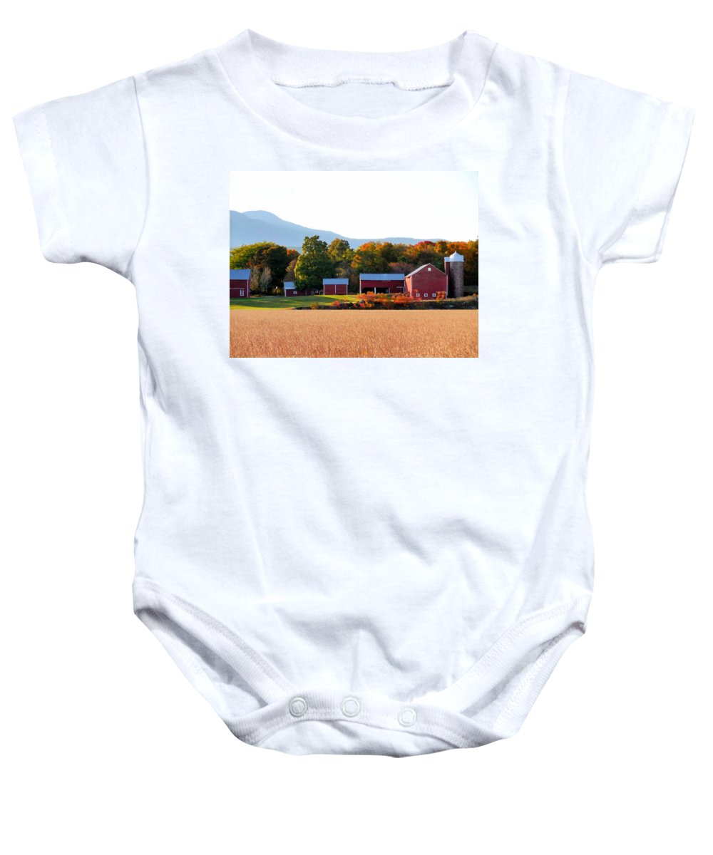 Beautiful Red Barn Baby Onesie featuring the painting Beautiful Red Barn 4 by Jeelan Clark