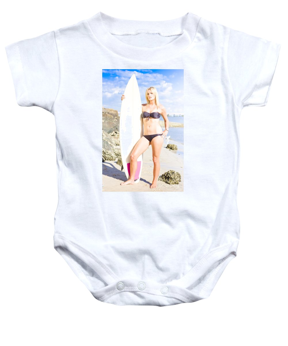Attractive Baby Onesie featuring the photograph Beautiful Young Blond Surf Woman by Jorgo Photography - Wall Art Gallery