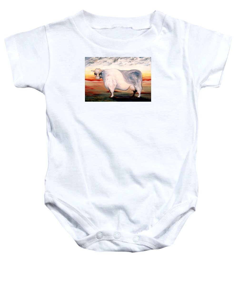 Cow Baby Onesie featuring the painting Beef Holocaust II by Mark Cawood
