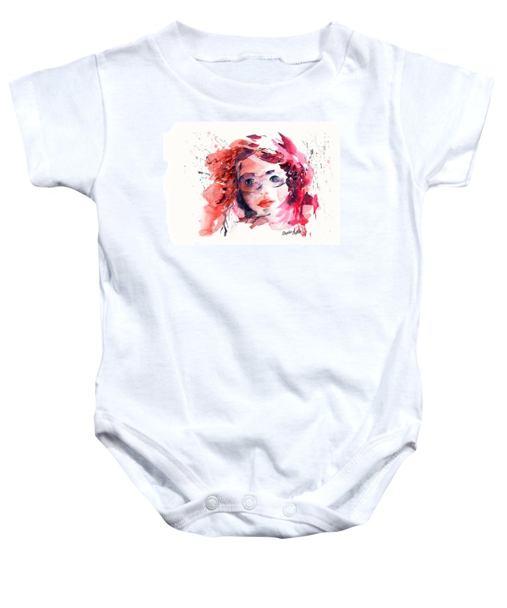 Stephie Butler Baby Onesie featuring the painting Behind The Mask by Stephie Butler