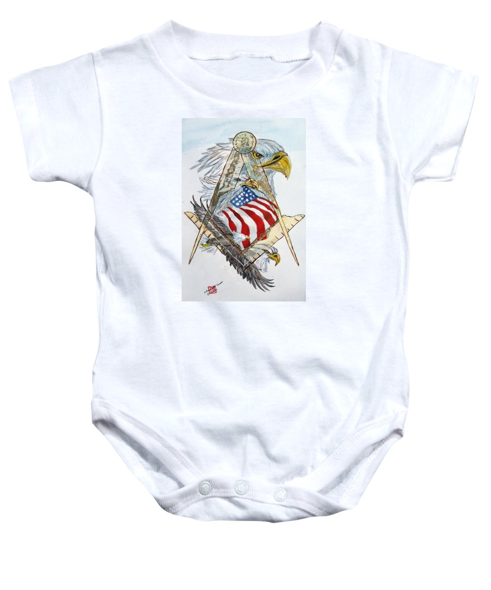 Masonic Logo Baby Onesie featuring the painting Behind The Veil Outside The Box by Arlene Wright-Correll