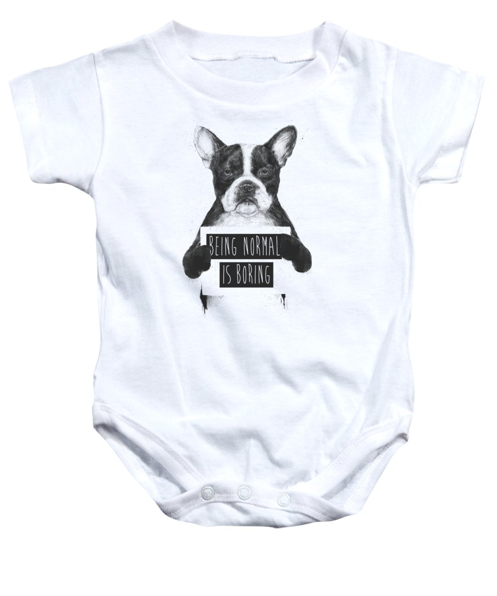 Bulldog Baby Onesie featuring the drawing Being normal is boring by Balazs Solti