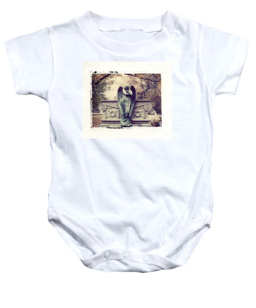 Bellefontain Angel Baby Onesie featuring the photograph Bellefontaine Angel Polaroid Transfer by Jane Linders