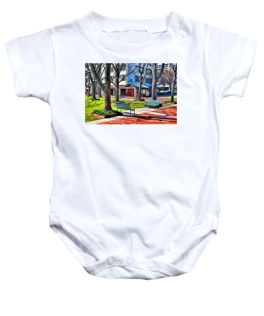 Howard County Baby Onesie featuring the digital art Benches by Stephen Younts