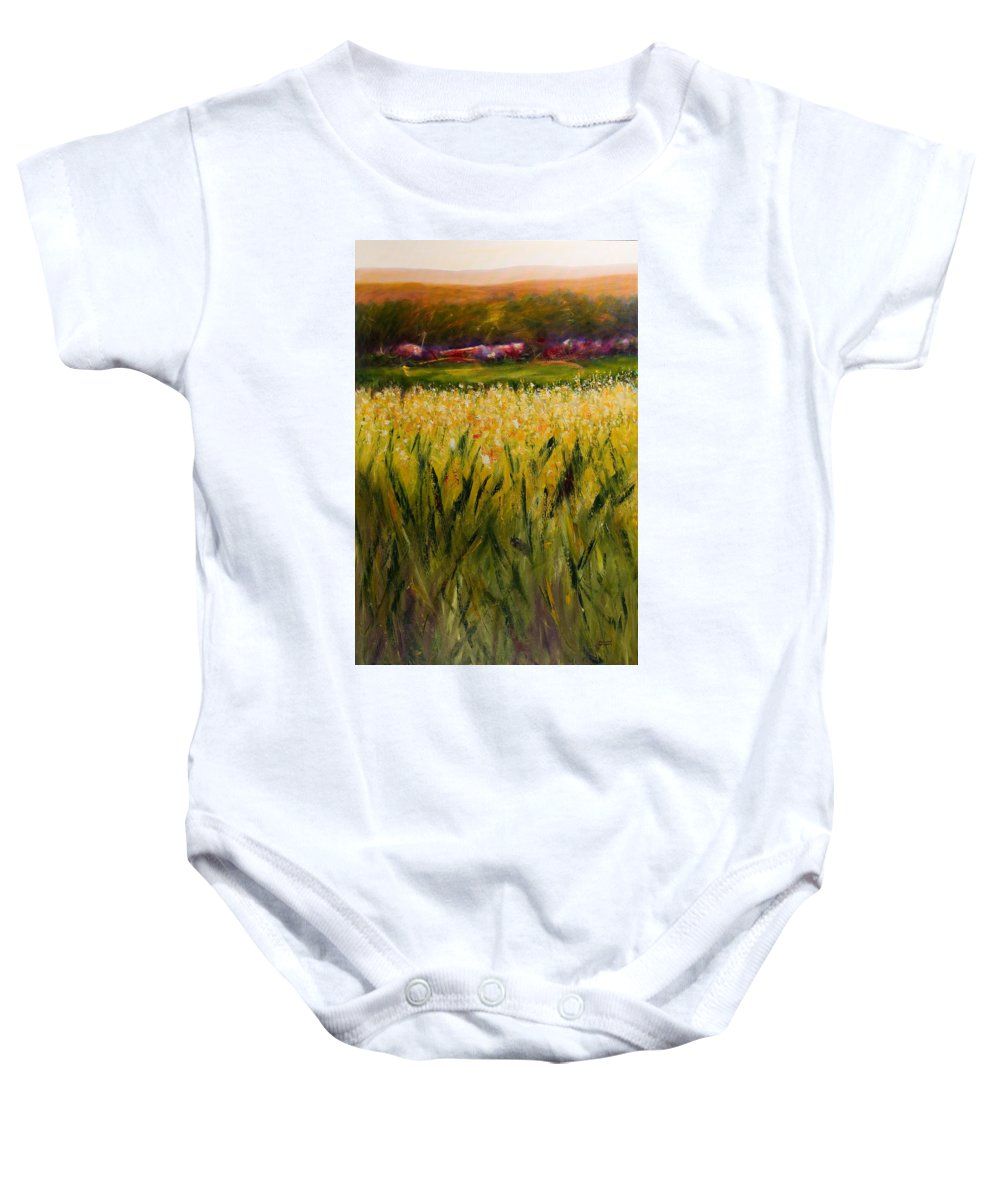 Landscape Baby Onesie featuring the painting Beyond The Valley by Shannon Grissom