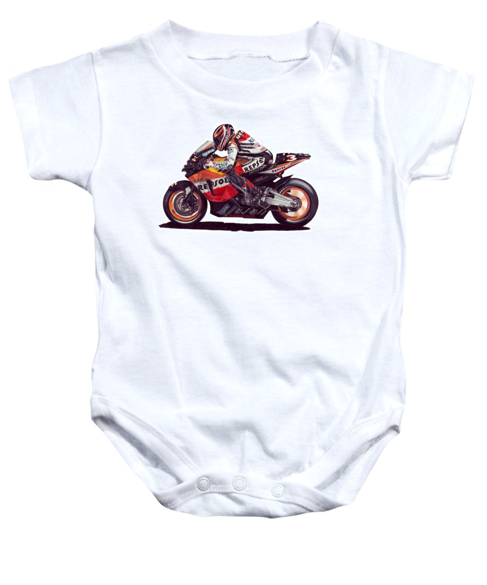 Max Biaggi Baby Onesie featuring the drawing Biaggi by Kristen Wesch