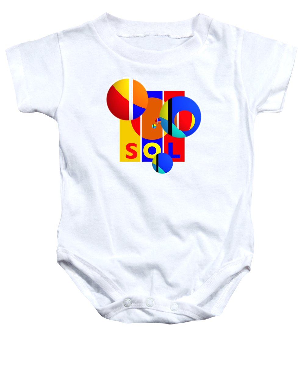 Primary Colors Baby Onesie featuring the painting Big Bang Style by Charles Stuart