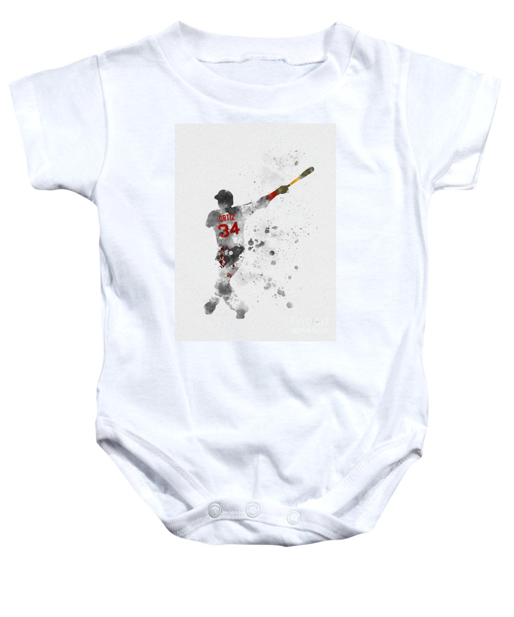 Big Papi Baby Onesie featuring the mixed media Big Papi by My Inspiration
