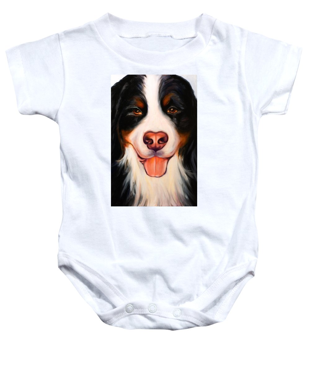 Dog Baby Onesie featuring the painting Big Willie by Shannon Grissom