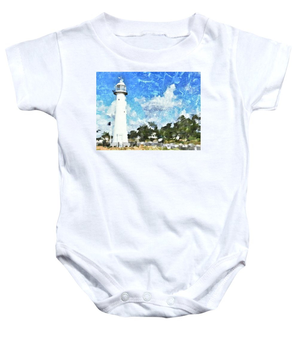 Lighthouse Baby Onesie featuring the photograph Biloxi Lighthouse by Scott Crump