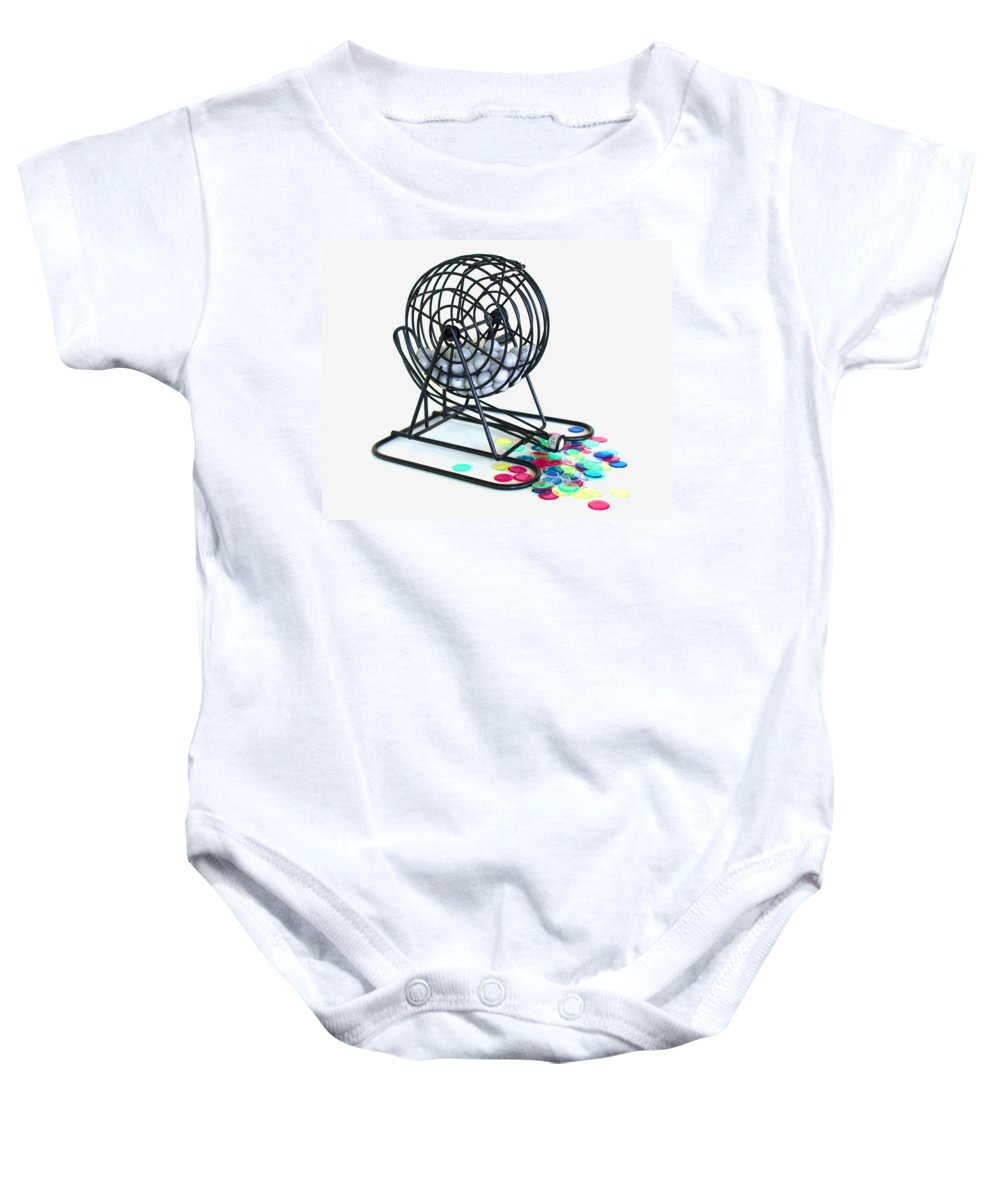 Bingo; Ball; Keno; Balls; Random; Cage; Rotate; Rotating; Drawn; Draw; Caller; Cheat; Cheating; Card Baby Onesie featuring the photograph Bingo Cage by Allan Hughes