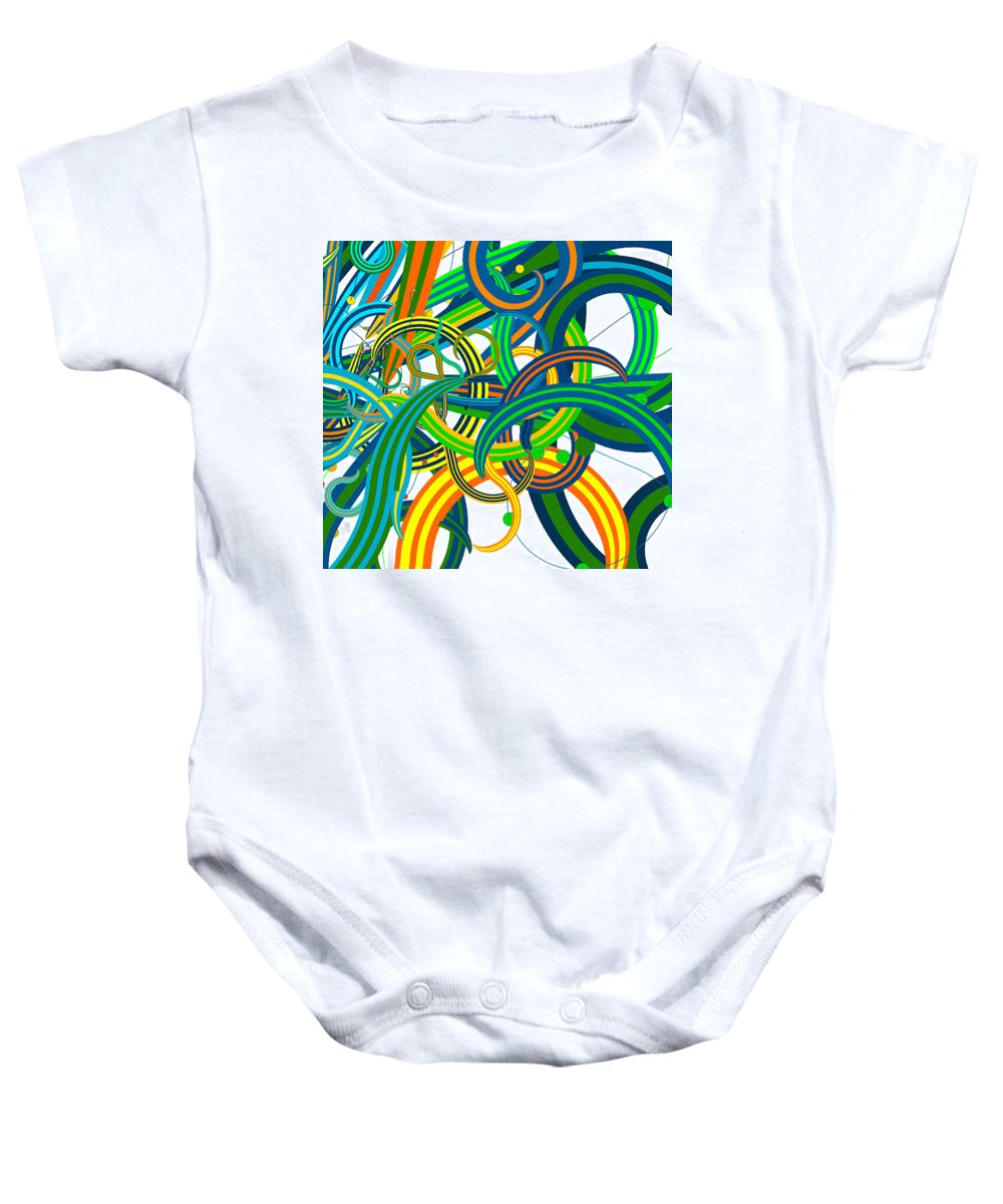 Bipolar Mania Rollercoaster Abstract Baby Onesie featuring the digital art Bipolar Mania Rollercoaster Abstract by William Braddock