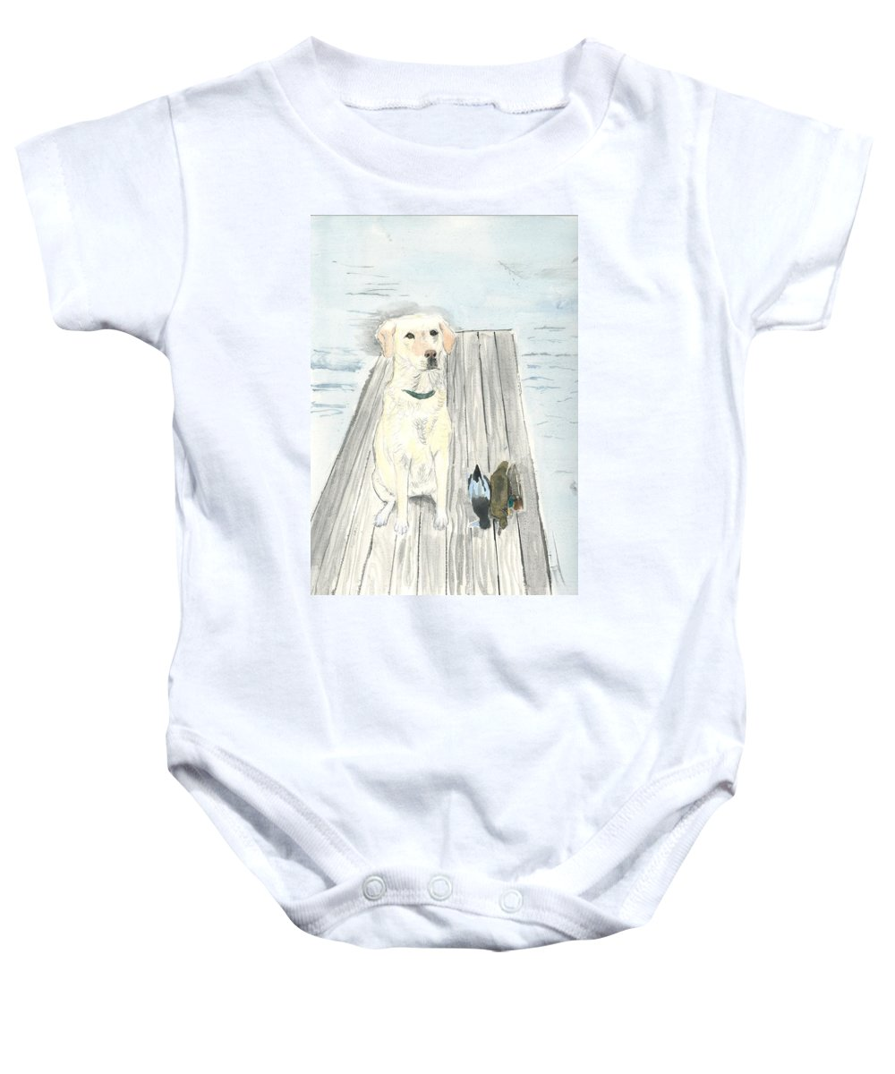 Daisy Baby Onesie featuring the painting Bird Dog by Sara Stevenson