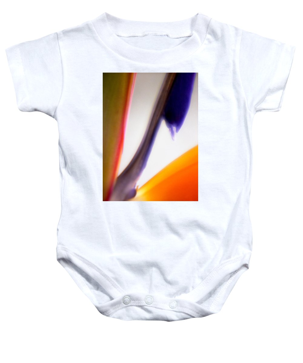 Macro Baby Onesie featuring the photograph Bird Of Paradise by Lee Santa