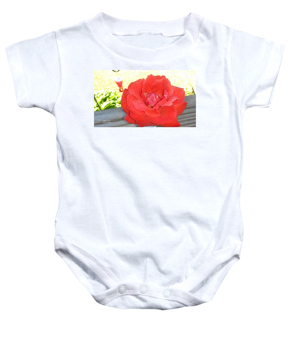 Roses Baby Onesie featuring the photograph Bird Watching Red Rose by Maxine Billings