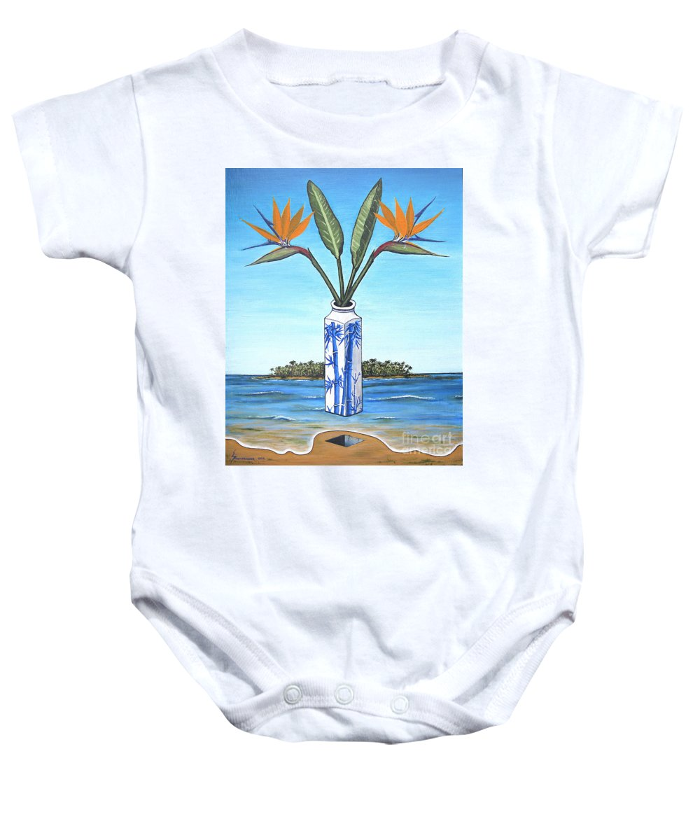 Bird Of Paradise Baby Onesie featuring the painting Birds Over Paradise Flowers by Jerome Stumphauzer