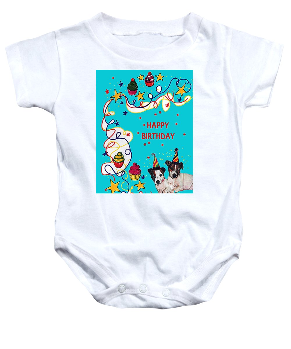 Twins Baby Onesie featuring the drawing Birthday Twins by Al Pascucci