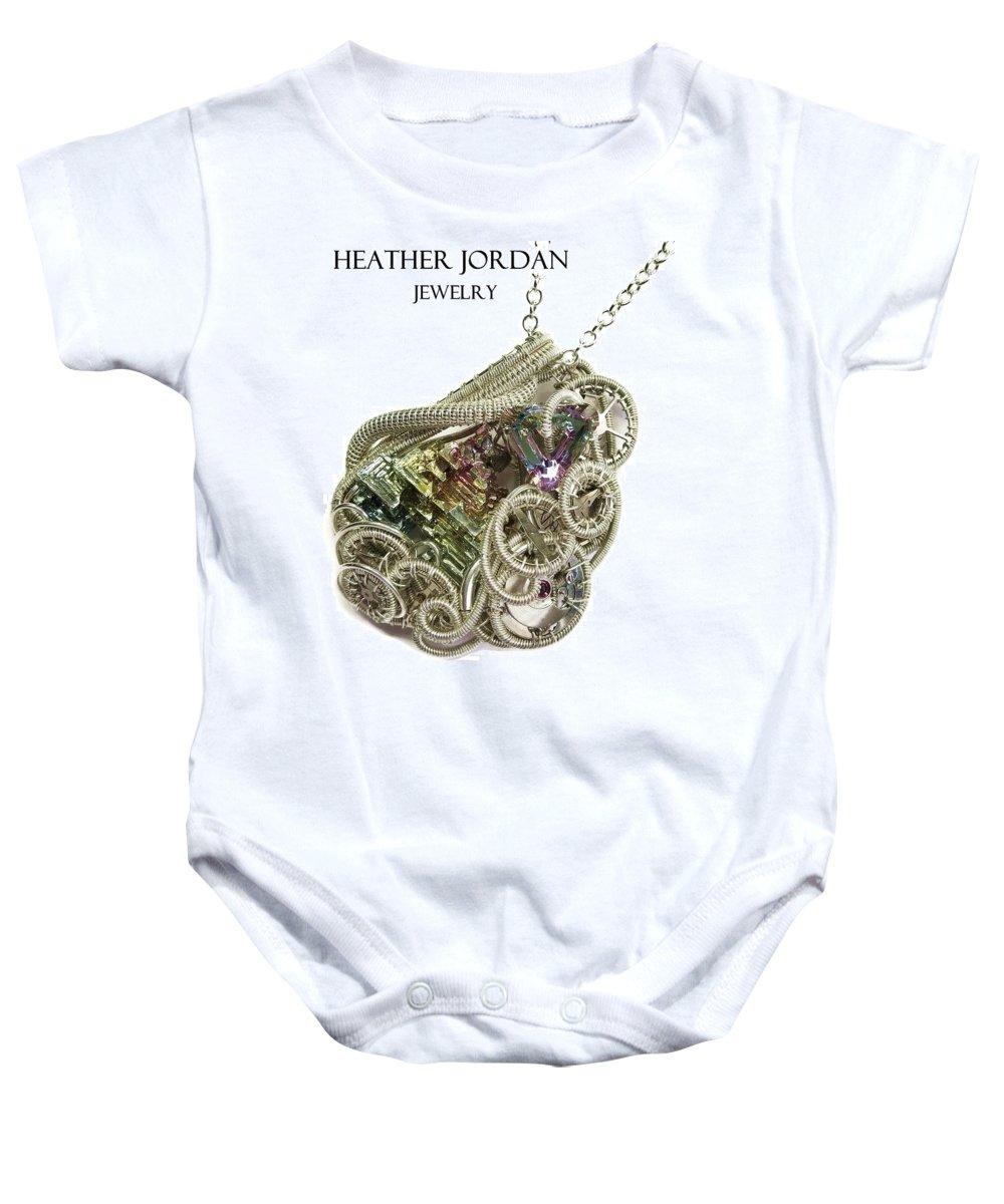 Heather Jordan Baby Onesie featuring the jewelry Bismuth And Swarovski Crystal Steampunk Pendant In Sterling Silver - Stmbsm42 by Heather Jordan