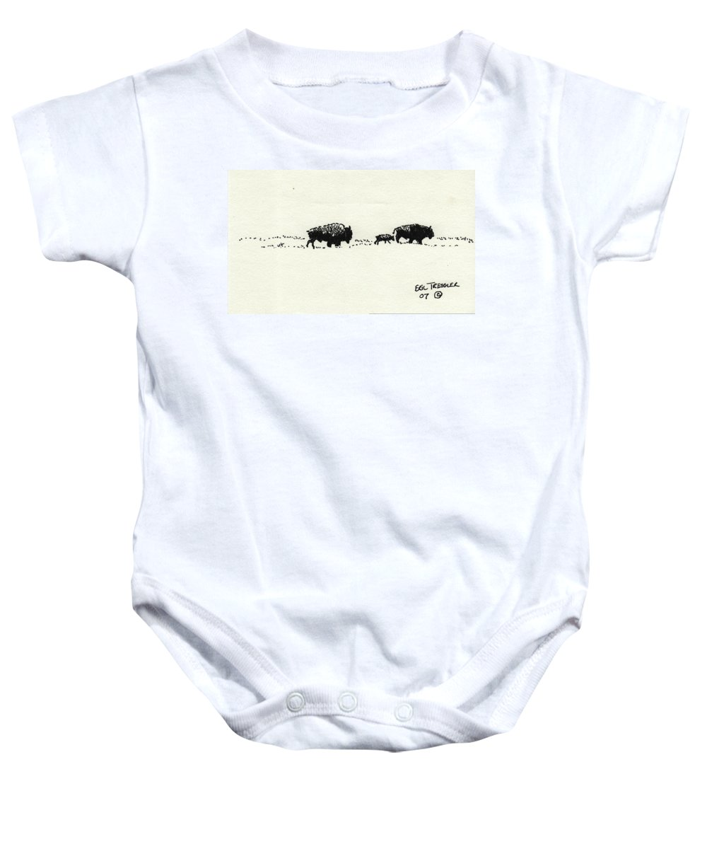 Buffalo Baby Onesie featuring the photograph Bison Family by Eric Tressler