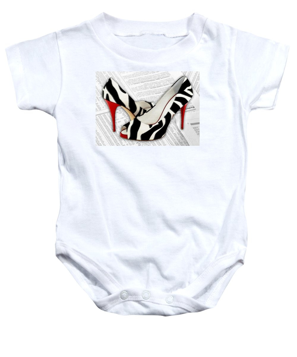 Shoes Heels Pumps Fashion Designer Feet Foot Shoe Baby Onesie featuring the painting Black And White And Red All Over by Elaine Plesser