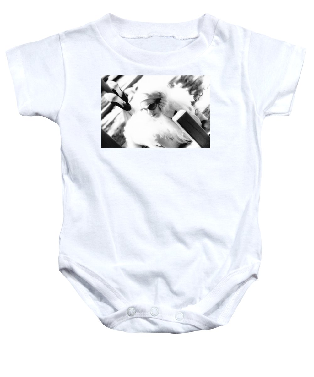 Black And White Baby Onesie featuring the photograph Black And White Girl by Totally Talliesen