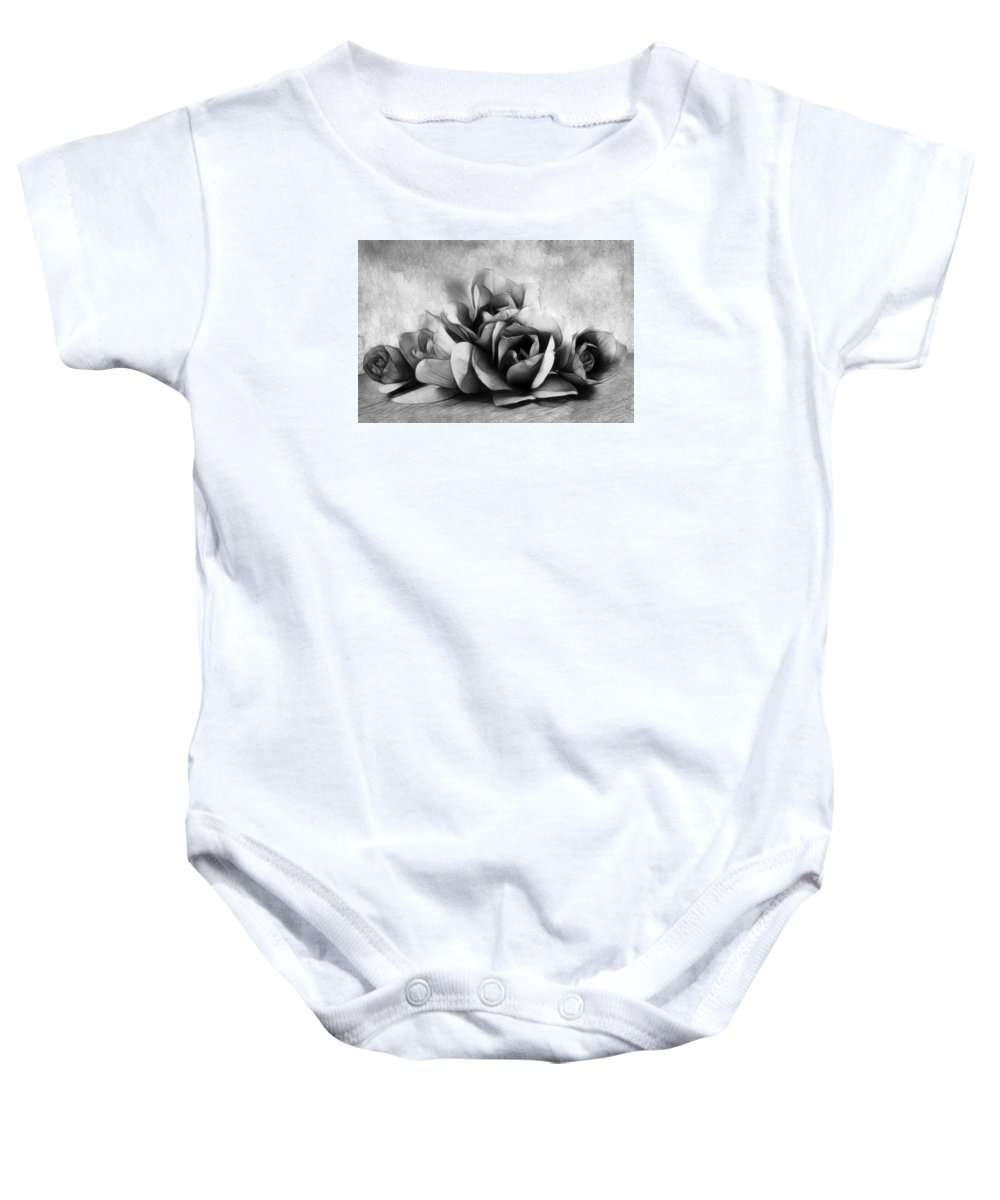 Magnolia Baby Onesie featuring the photograph Black And White Is Beautiful by Georgiana Romanovna