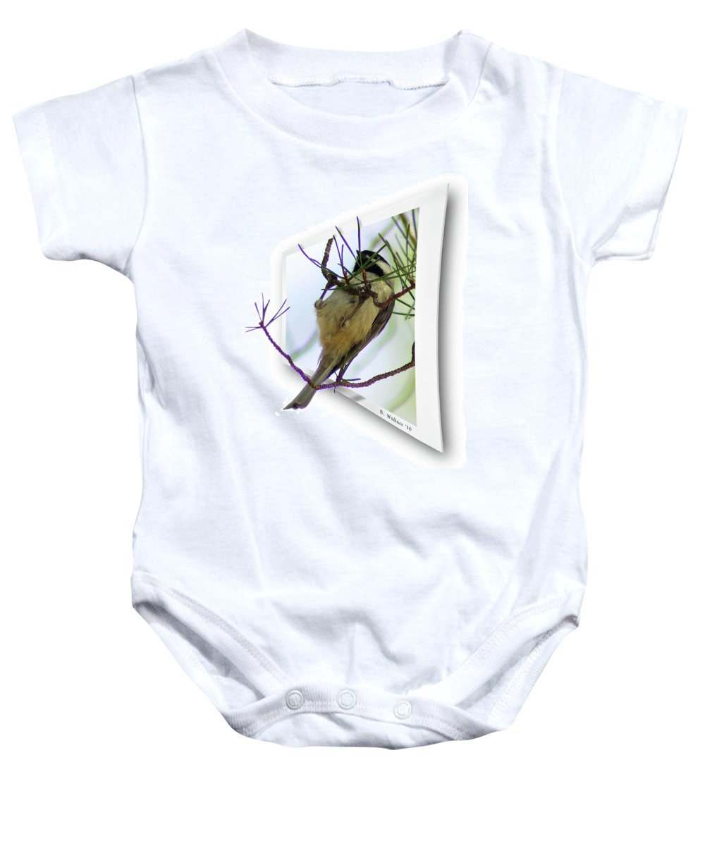 2d Baby Onesie featuring the photograph Black-capped Chick-a-dee by Brian Wallace