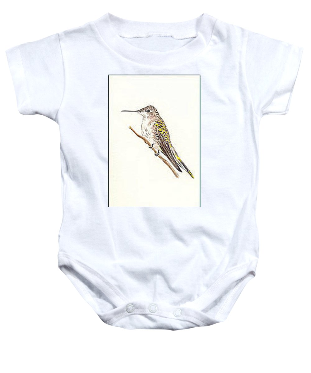 Birds Baby Onesie featuring the painting Black Chinned Hummingbird by Michael Vigliotti