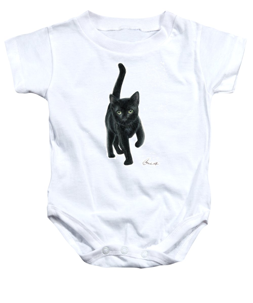 Cat Kitten Art Bruce Lennon Baby Onesie featuring the painting Black Kitten by Bruce Lennon