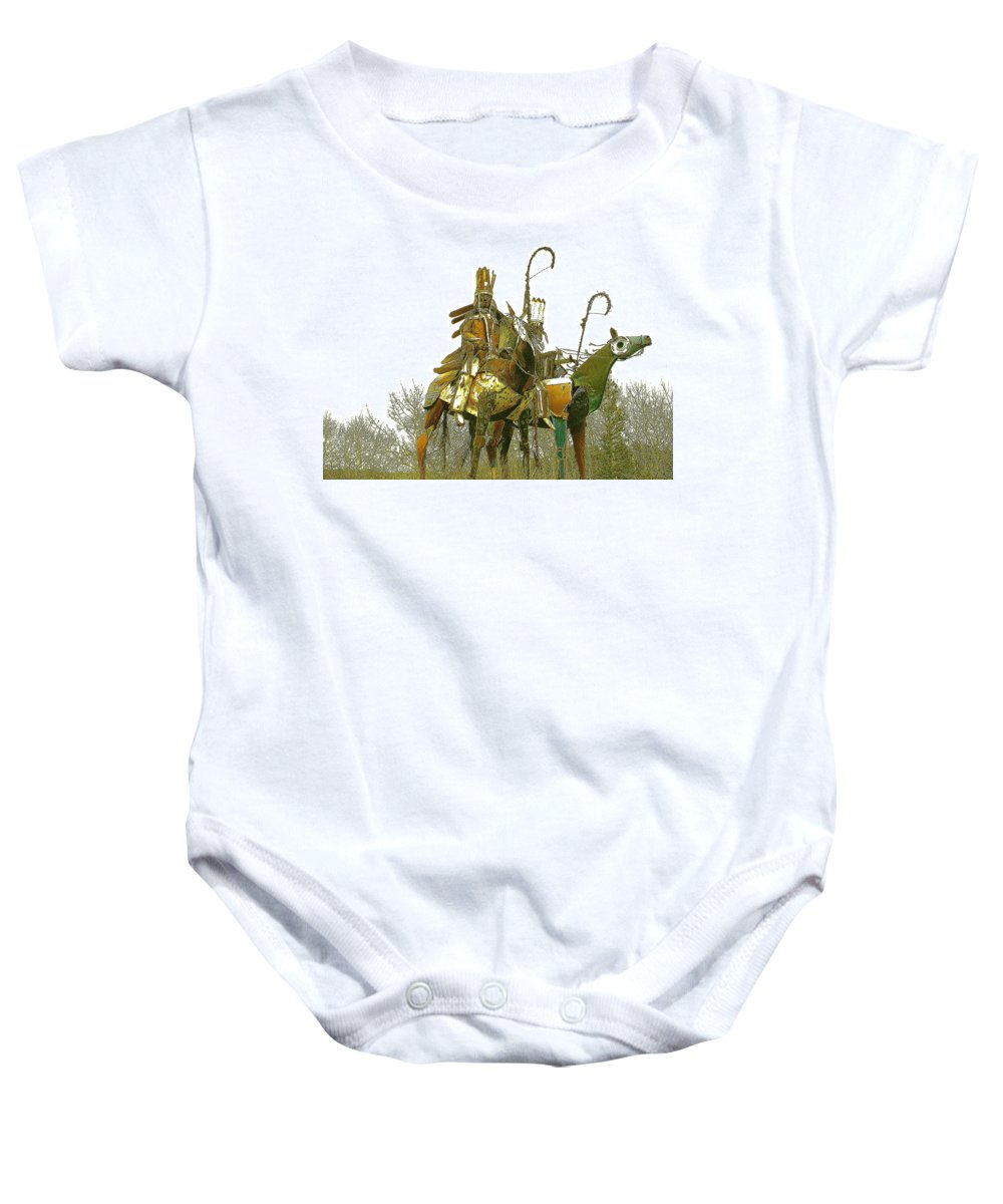 Native American Baby Onesie featuring the photograph Blackfeet Wariors by Nelson Strong