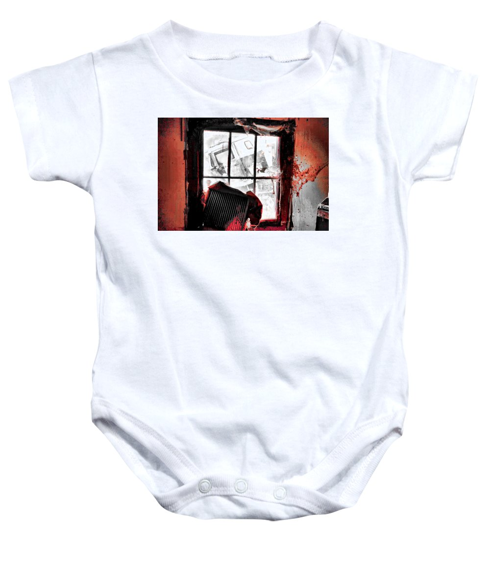 House Baby Onesie featuring the photograph Bloody Walls by Harrison Hanville