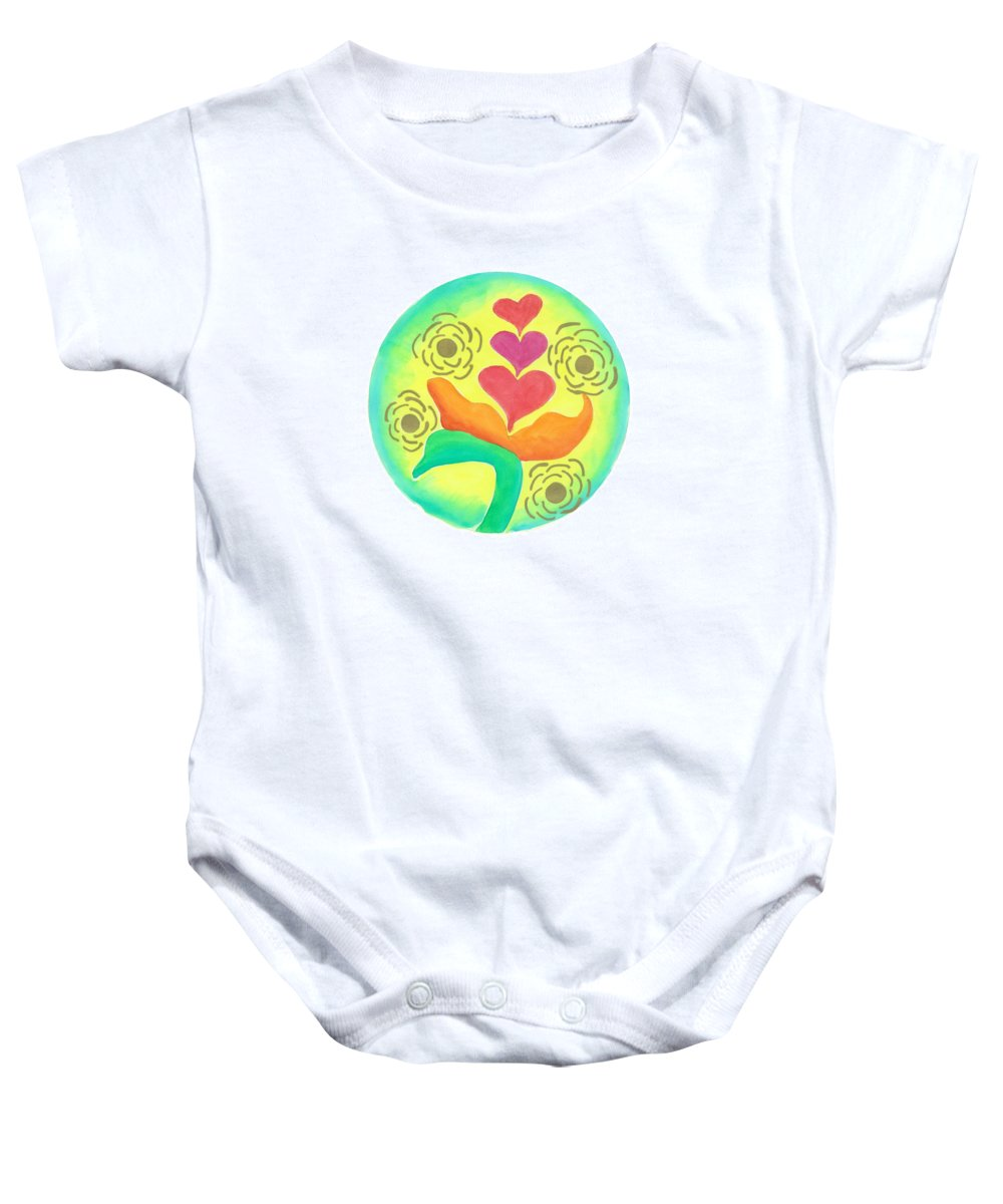 Love Baby Onesie featuring the painting Blossoming From Within by Wendy Hawkins