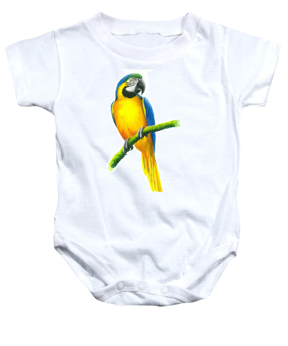 Chris Cox Baby Onesie featuring the painting Blue And Gold Macaw by Christopher Cox