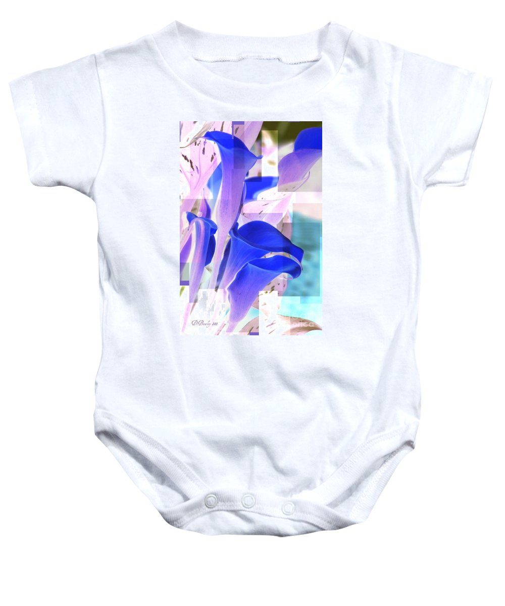 Calla Lilies Baby Onesie featuring the photograph Blue Calla Lily2 by Donna Bentley