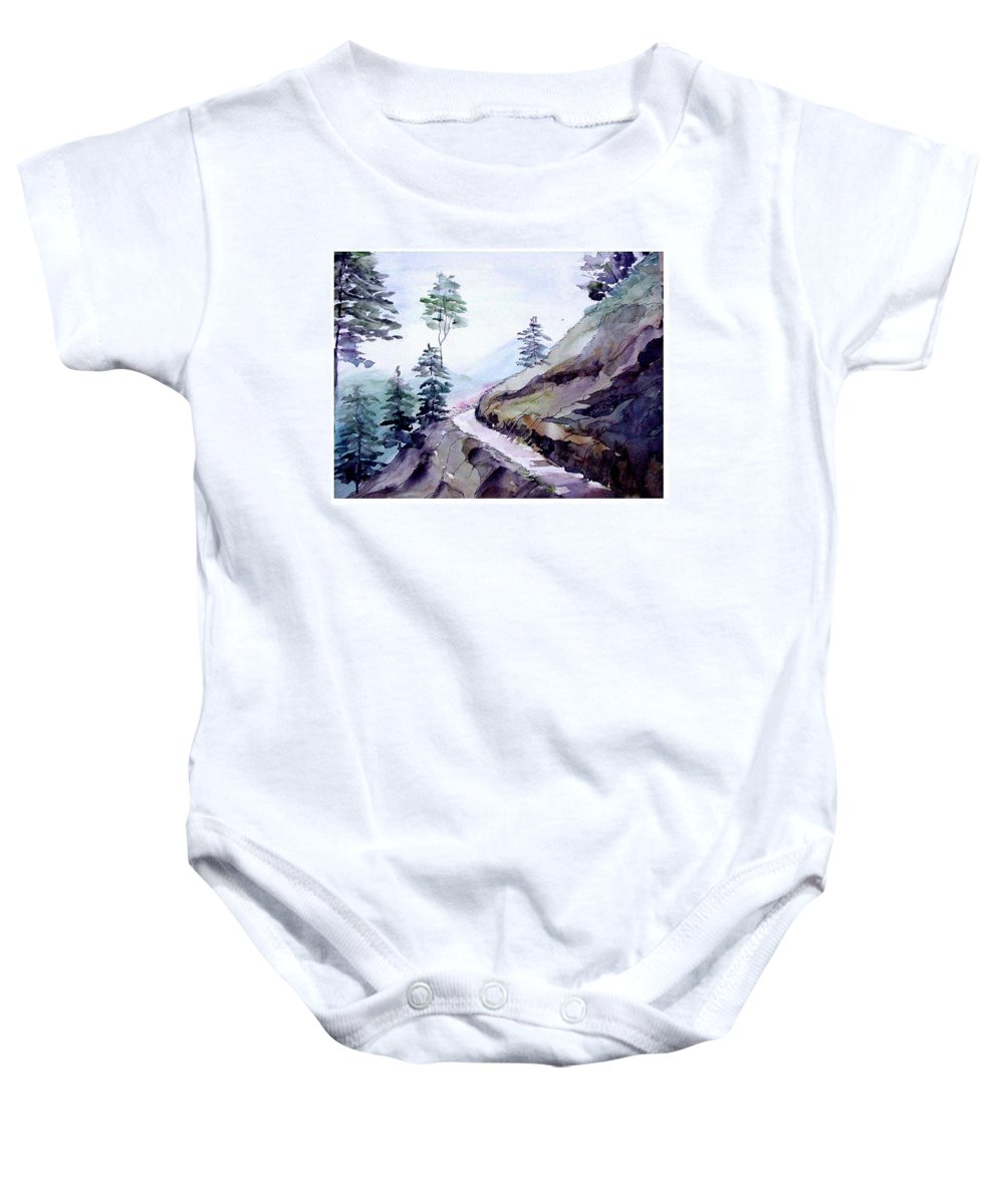 Landscape Baby Onesie featuring the painting Blue Hills by Anil Nene