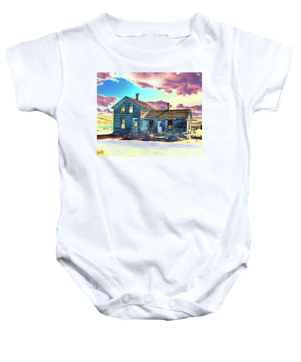 Bodie Baby Onesie featuring the photograph Blue House by Jim And Emily Bush
