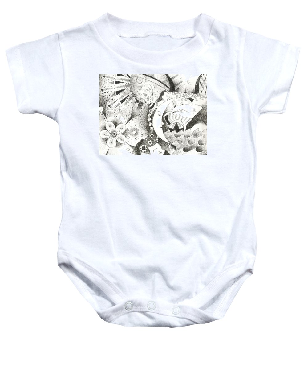Surreal Baby Onesie featuring the drawing Blue Moons And Tidbits by Helena Tiainen