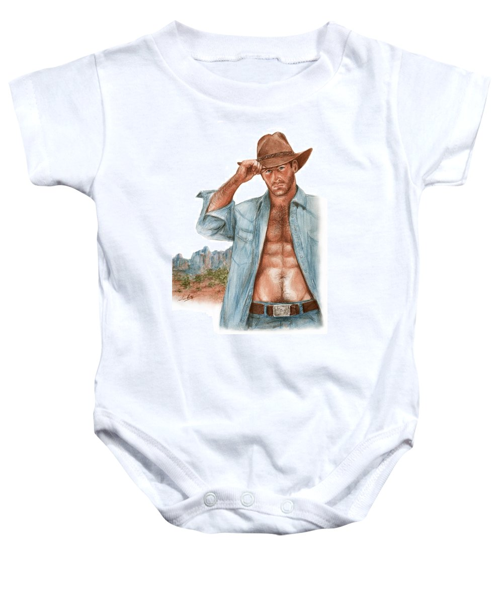 Cowboy Bruce Lennon Art Baby Onesie featuring the painting Blue Mountains by Bruce Lennon