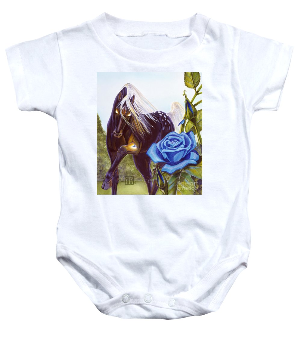 Unicorn Baby Onesie featuring the drawing Blue Rose Unicorn by Melissa A Benson