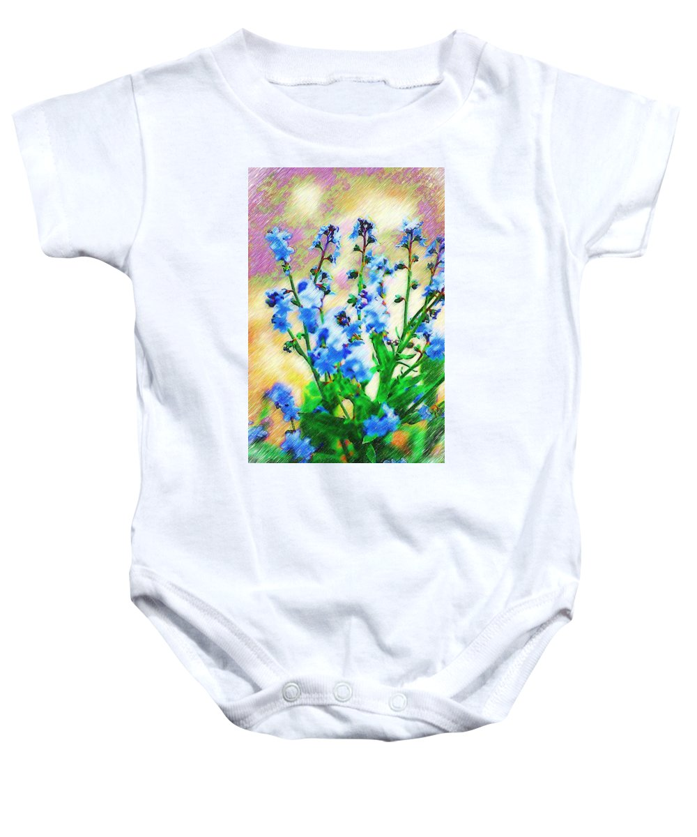 Blue Baby Onesie featuring the photograph Blue Wildflowers by Donna Bentley