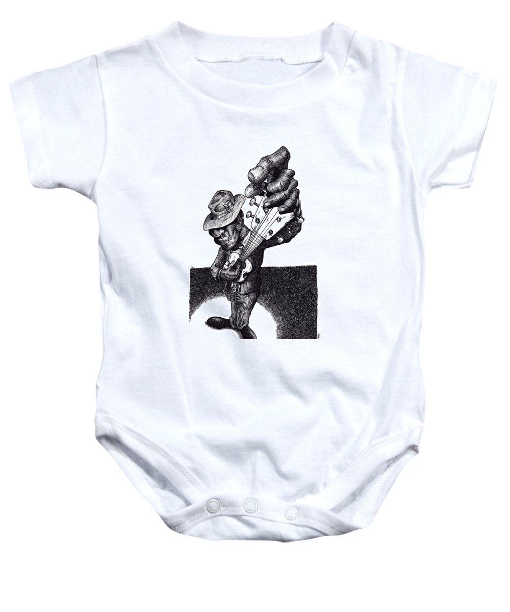Blues Baby Onesie featuring the drawing Blues Guitar by Tobey Anderson