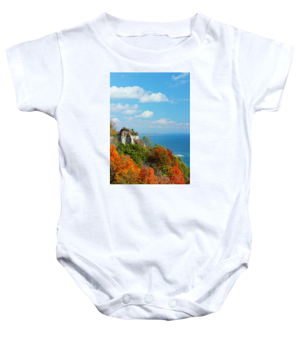 Scarborough Baby Onesie featuring the photograph Bluffs Splendour - Scarborough Bluffs by Spencer Bush