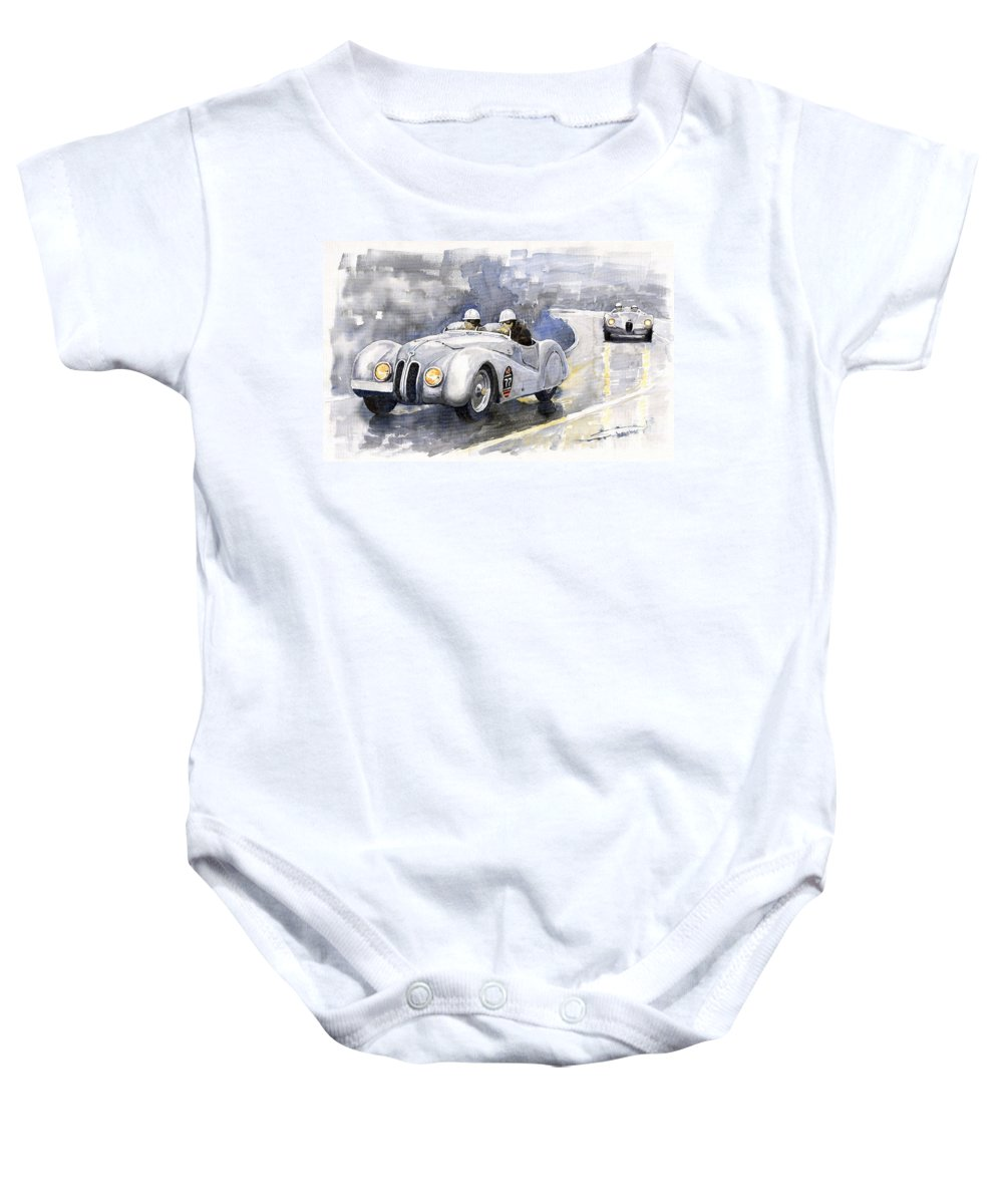 Auto Baby Onesie featuring the painting Bmw 328 Roadster by Yuriy Shevchuk