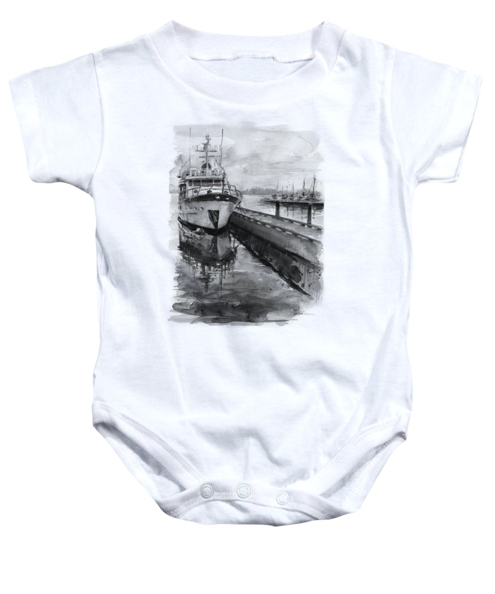 Kirkland Baby Onesie featuring the painting Boat On Waterfront Marina Kirkland Washington by Olga Shvartsur