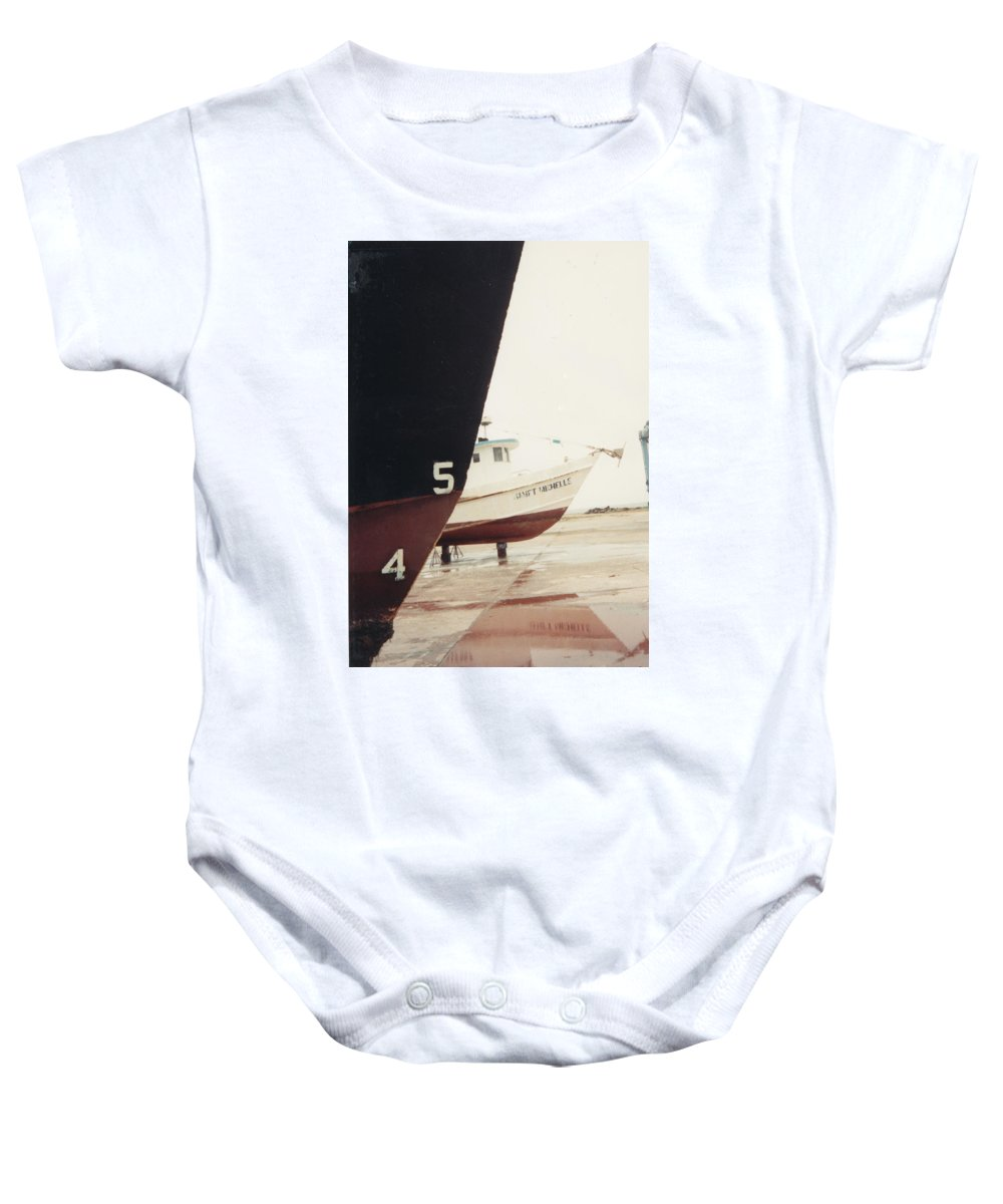 Boat Reflection Baby Onesie featuring the photograph Boat Reflection And Angles by Cindy New