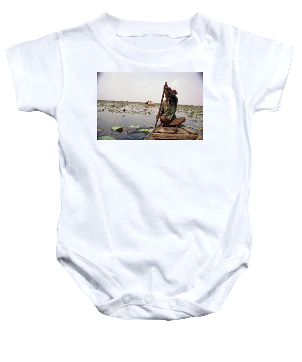 Cambodia Baby Onesie featuring the photograph Boatman - Battambang by Patrick Klauss